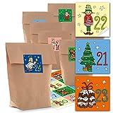 Adventskalender Bastel-Set: 24 kleine braune Kraftpapier Papiertüten 14 x 22 x 5,6 cm + 24 Stück bunte farbige KINDER-Aufkleber Adventskalender-Zahlen von 1 bis 24 selber basteln rot blau grün