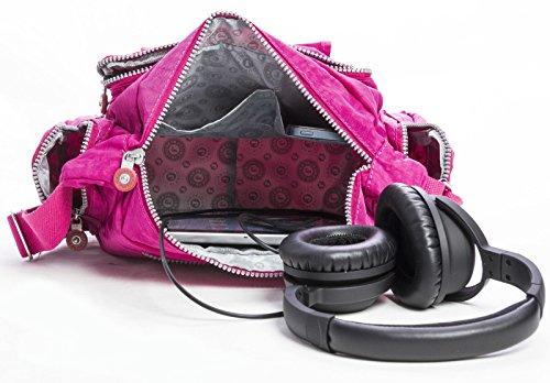 Big Handbag Shop bunt, leicht, Stoff, mit Reißverschluss, Taschen, Umhängetasche, Schultertasche Rot