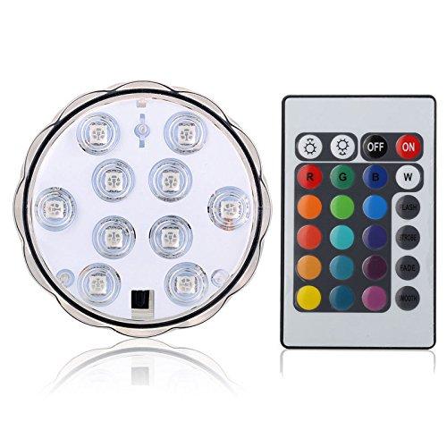 Lumière multicolore imperméable composée de 10 LED changeantes à mettre sous l'eau avec télécommande