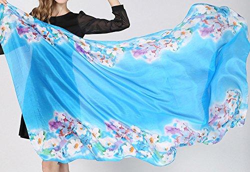 Helan femmes Réel Soie Naturelle 180 X 110 cm Emballage d'été Foulards longs Blue Sea Floral