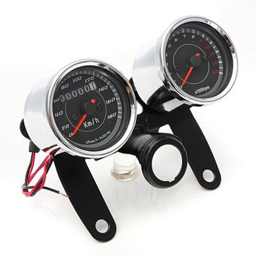 2 in 1 Motorrad Meter - SODIAL(R)Motorrad LED Drehzahlmesser mit Halterung