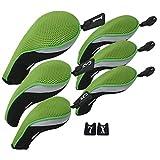Andux golf Schlägerkopfhüllen satz Eisen hauben austauschbar Nr. Etikett (3 Hybrid +3 holz) MT/ZH05 Grün