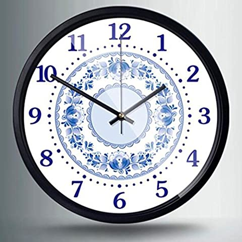 HY-FHLJ Printing Metal Quartz Clock Pastoral Style 12 Inch Chinese Style Blue And White Porcelain Pattern Mute No Ticking Sound Family Kitchen / Living Room Wall Clock (Silver White Black) , H , 12