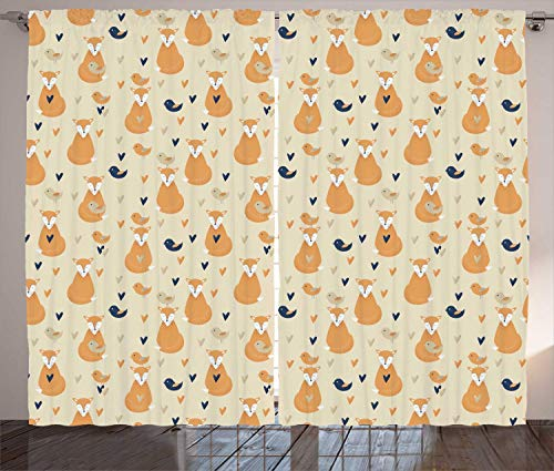 Forest Friends Curtains, Simple Pattern with Foxes Birds and Hearts, Living Room Bedroom Window Drapes 2 Panel Set,Beige Pale Orange Night Blue Dark Tan 110x95 in Tan Popper