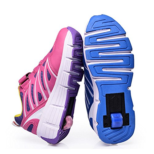 Meurry Bambini Roller Shoes Shoes Rolls regolabile Pattini Rollerblade pattini in linea Ragazzi Ragazze singola ruota Sport Rosa