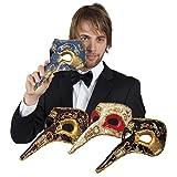 Fancy Ole - Herren Männer Kostümzubehör: Venezianische Maske mit Nase, Blau