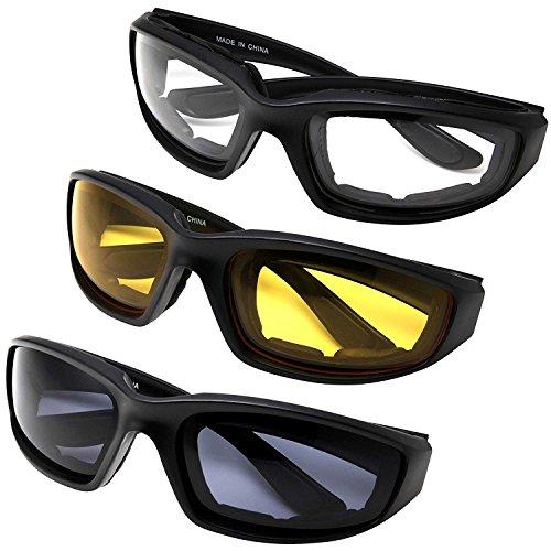 Yooyee Gafas para Moto y Montar, 3 Piezas de Gafas Para Ciclistas Todo Tiempo Para Actividades al Aire Libre (Paquete de Surtido)