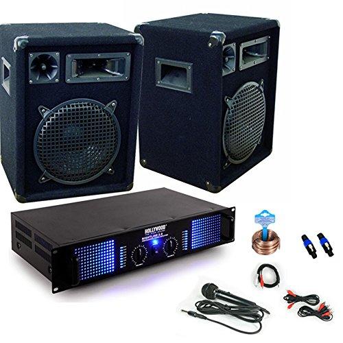 Microfono di 2400W DJ PA sistema completo altoparlante amp cavo DJ-34