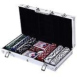 HOMCOM Juego de Póker con 300 Fichas Juego de Chips de Póquer con Caja de Aluminio Set de Poker con 300 Fichas,5 Dados,1 Botón de Banquero y 2 Barajas de Cartas