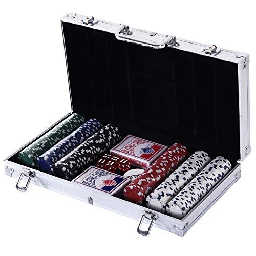 HOMCOM Juego de Póker con 300 Fichas Juego de Chips de Póquer con Caja de Aluminio Set de Poker con 300 Fichas 5 Dados 1 Botón de Banquero y 2 Barajas de Cartas