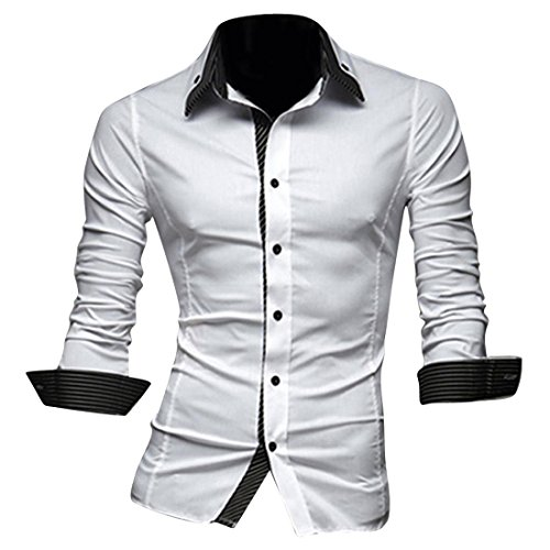 jeansian Hommes Chemise Casual Slim Fit Trend Fashion Mens Shirt 8698 white