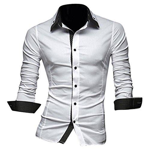 Jeansian Uomo Camicie Moda Men Shirts Slim Fit Casual Fashion 8698 White