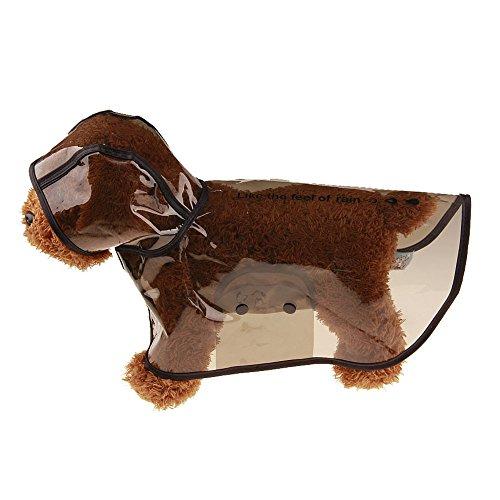 Hawkimin Haustier Hund Regenmantel, 4 Farbes 5 Größens Kunststoff Wasserdichte Modischer und Cool Jacke mit Kapuze Kapuzenjacke Mantel - Halsband Leder Auto Mantel