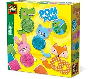 SES Creative-14003 Animales de Pompones, Color Azul/Verde/Naranja/Rosa (14003