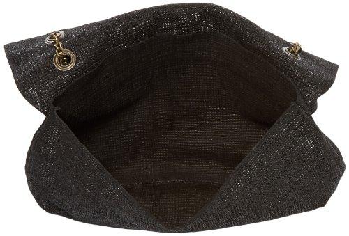 Sous les Pavés Manhattan, Sac porté épaule Noir (Raffia Noir/Serpent)