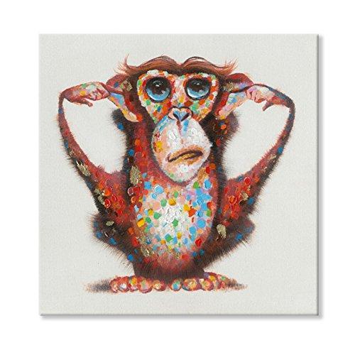 Sept Murale Arts 100% Peints à la Main singes Litsen No Evil, Peinture à l'huile tendue et encadrée Illustrations prêts à Poser