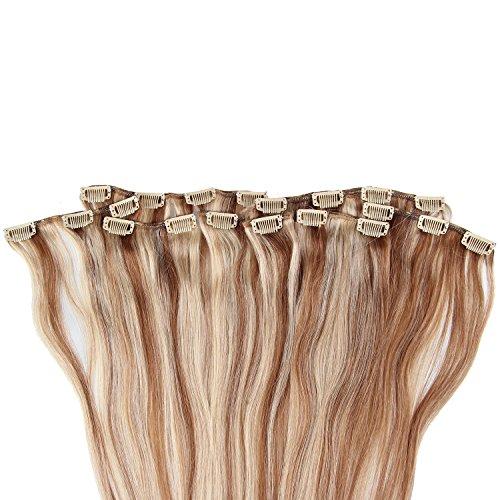 Beauty7 120g Extensions de Cheveux Humains à Clip 100% Remy Hair Haute Qualité #10/24 Couleur Marron Blonde Clair Longueur 55 cm