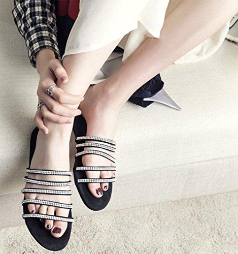 Frau Diamant flache Sandalen und Pantoffeln Wort Drag Sandalen weiblichen Sandalen Strand Black