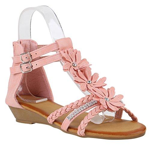 Damen Keilsandaletten Blumen Schuhe Sandaletten Zierperlen Rosa Strass