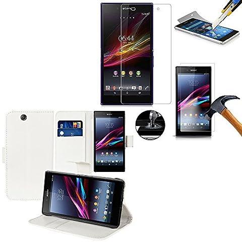 VCOMP® Etui portefeuille cuir PU Livre rabat support vidéo couleur BLANC pour Sony Xperia Z Ultra XL39H C6802/ LTE C6806 C6833 + 1 Film de protection d'écran Verre Trempé