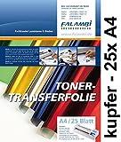 metallic Toner-Thermo-Transferfolie DIN A4 für Laminiergerät, gold, silber, kupfer, rot, blau grün (kupfer - 25 x A4)
