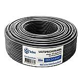 30m Lautsprecherkabel 2x1,5mm², rund, schwarz, CCA, Boxenkabel, mit Metermarkierung, in bewährter M&G Techno-Qualität