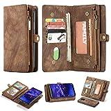 Simicoo Mate 20 lite Geldbörse Leder Schutzhülle mit 11 Kartenfächer Standfunktion Reißverschluss Abnehmbare Magnetverschluss Robuste Silikon Brieftasche Tasche Handtasche für Mate 20 Lite Brown