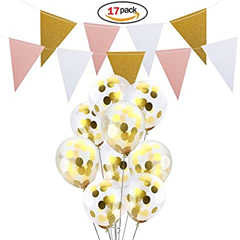 Ndier 16 Pieces Gold Confetti Balloons 12 inches - Bonus Handmade Banner for Wedding Birthday Party Festival