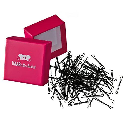 HAARallerliebst 100 Mini Haarklammern Haarnadeln Bobby Pins schwarz 3,4cm kurz in Pinker Box
