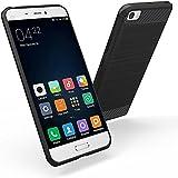 Funda Xiaomi Mi 5, Simpeak Negro Silicona Fundas Xiaomi Mi 5 Carcasa Xiaomi Mi 5 Fibra De Carbono Funda Case(5,15 Pulgadas),Negro
