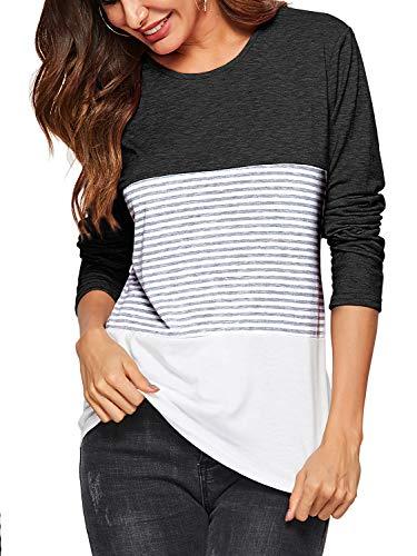 6056be28a7 AMORETU Blusas de Manga Larga a Rayas Suaves y cómodas de Las Mujeres  T-Shirt Tops de la túnica Negro L