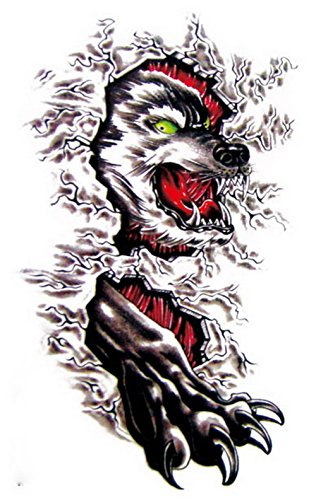 Lanlan Partys oder Halloween temporäre Tattoo Fire Wolf Kopf und Kiefer art Aufkleber für Cos Spielen mc2750 (Halloween-cos)