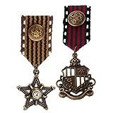 MagiDeal 2 Pièce / Lot Médaille Badge Militaire Rock Punk Biker Vêtements Costume Broche