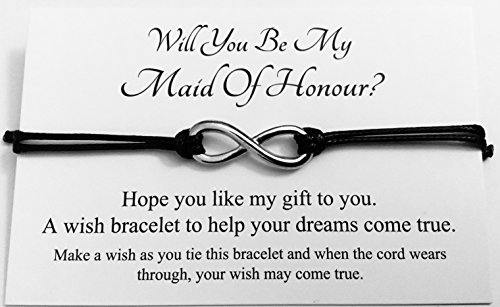 Will You Be My Maid Of Honour? Wedding Infinity Charm Wish Bracelet Card Gift Bag Friendship charmed Bracelet Party Favour(Hand made in UK) (Black)