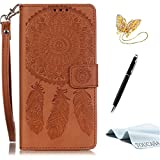 TOUCASA iPhone 5 Hülle,iPhone SE Ledertasche, Premium Flip Retro Malerei Dreamcatcher Traumfänger Bild Klassische Magnetverschluss Slim Folio für iPhone 5S/iPhone 5/iPhone SE -Braun