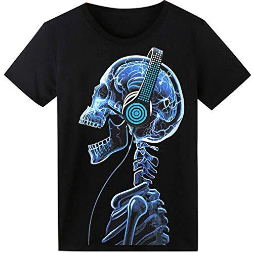 LED T-Shirt für Party Hiphop Cosplay Konzert Geburtstagsgeschenk Beste Christmas Kostüm Sound Aktiviertes Equalizer Shirt DJ T-Shirt(Kopfhörer Schädel) (Kostüm Mit Led-leuchten)