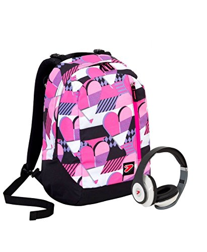 Zaino SEVEN THE DOUBLE NEW - PINKY HEARTS - Rosa Viola Nero - cuffie stereo con grafica abbinata ! 2 zaini in 1 REVERSIBILE