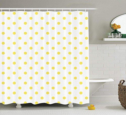 JAKE SAWYERS Polka Dots Home Decor Collection, Retro Small Yellow Polka Dots on Plain Background Equally Sized Circle Pattern, Polyester Fabric Bathroom Shower Curtain Set with Hooks, Yellow White -