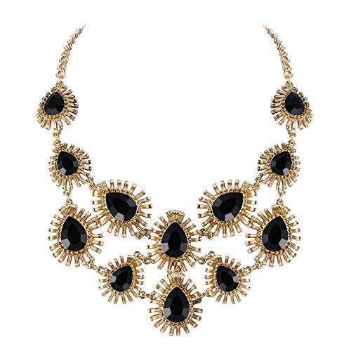 Ever Faith Damen Halskette Österreichische Kristall kostüm Statement Drop Chunky Halskette Ohrringe Set Schwarz Gold-Ton (Fünf Jahres Engagement Kostüm)