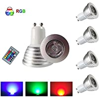 HHD®–Set di 4RGB Lampadina LED 3W 16colori cambiamento colorato rgb LED Bulb 250–270LM LED con telecomando a pulsanti AC95–240V [classe energetica A +]