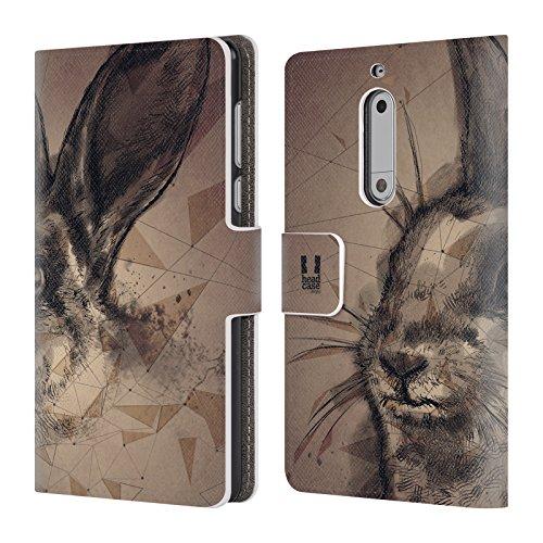 Head Case Designs Hop Polysketch Brieftasche Handyhülle aus Leder für Nokia 5 (Hop Leder)