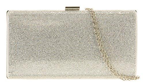 Girly HandBags Diamanten Tasche Box Clutch Unterarmtasche Silber