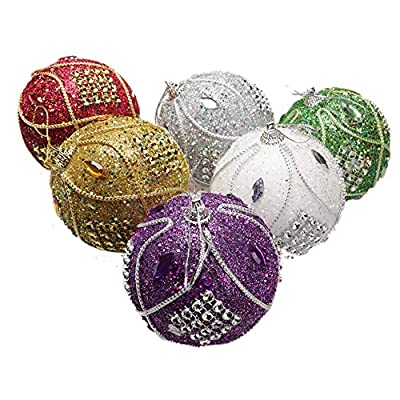 8cm Rhinestone And Glitter Christmas Baubles Choice Of Colour