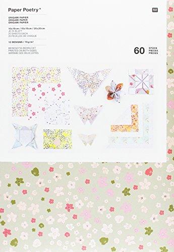 ORIGAMI, BOUQUET SAUVAGE: Origami Papier - 10x10cm, 15/15cm, 20x20cm - 12 Designs. Paper Poetry