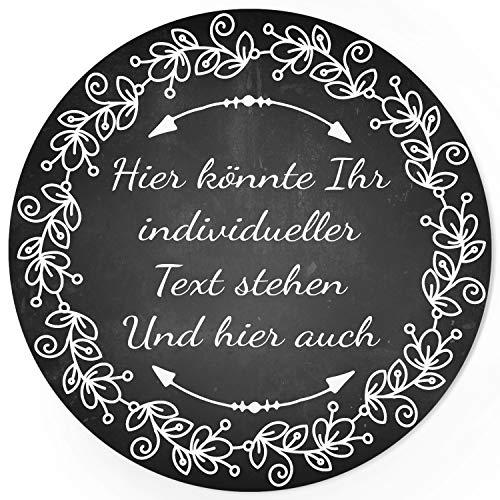 24 PERSONALISIERTE runde Etiketten mit Motiv: Tafel Look schwarz weiss edel - Ihre Aufkleber online selbst gestaltet, ganz individuell (Schwarz Und Weiß-thema Hochzeit)
