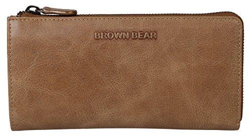 Brown Bear Geldbörse Damen Leder Braun Camel Vintage Reißverschluss umlaufend hochwertig Frauen Geldbeutel Portemonnaie Portmonee Portmonaise