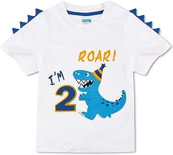AMZTM Dinosauro Maglietta di Compleanno - 2°Compleanno Articoli per Feste