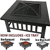 RayGar - Braciere/barbecue/portaghiaccio 3in 1 FP39, rotondo, in metallo, utilizzabile come stufa per patio, esterni e giardino, con copertura protettiva e vaschetta per il ghiaccio