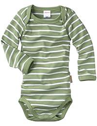 wellyou, Kinder Baby-Body Langarm-Body, grün weiß geringelt, für Jungen und Mädchen, Feinripp 100% Baumwolle