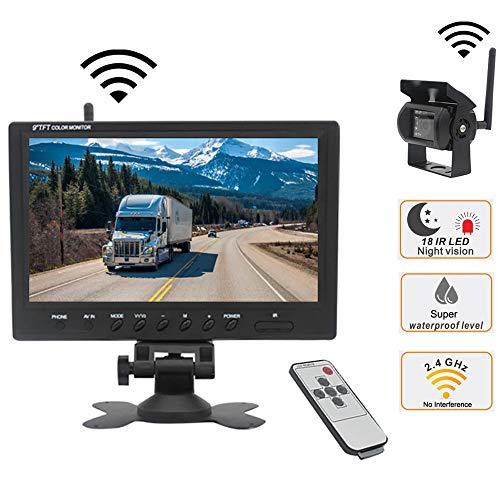 Mengen88 Drahtlose Rückfahrkamera, 9-Zoll-HD-Fahrzeugrückfahrmonitor + wasserdichtes Rückfahrkamera-Nachtsicht-Parksystem, für LKW/Wohnmobil/Anhänger usw.